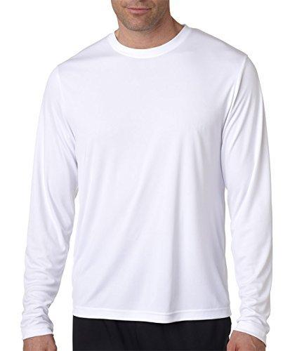 (Hanes Men's Long Sleeve Cool Dri T-Shirt UPF 50+, Large, 2 Pack ,1 Black / 1 White)