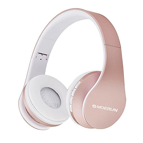 LUOLAX Noise Cancelling Bluetooth Headphones On Ear,Hi-Fi Stereo Headset With Case,Foldable&Lightweight, Wired And Wireless Headphones For Cell Phone/ TV/ PC (Rose Gold)