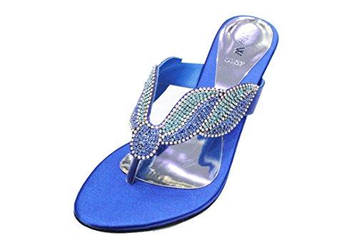 Confortable et Femme nbsp; Reena Sandale L'usure Soirée de UK Diamante Fête Fashion 4–10 Walk Blue Chaussures Enfiler Talon R pour Taille Bloc Mariage Femme à XzwCxdpqw