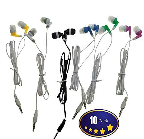 Wholesale Kids Bulk Earbuds Headphones Earphones, 6 Assorted Colors,For Schools, Libraries, Hospitals (10pack)