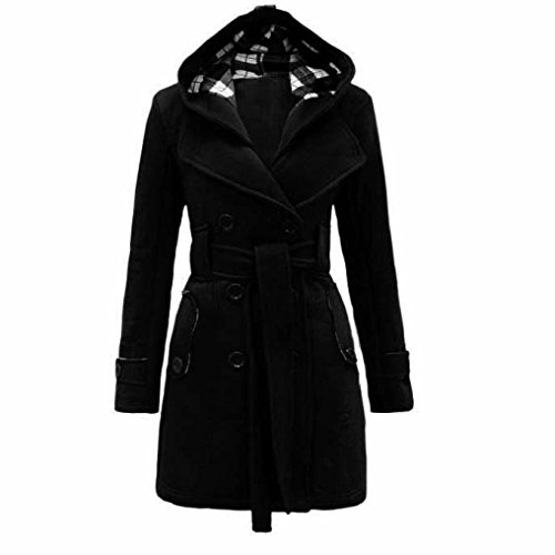 Women's Hooded Coat,Toponly Womens Warm Winter Hooded Long Section Belt Double Breasted Coat Cotton Blend (Black, M) - Belted Fur Belt