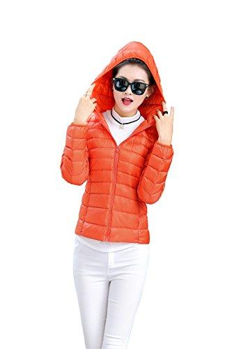 Down Coat Orange Hooded Ultralight Packble Women's Jacket Down Quilted Quibine CRqw0XUF