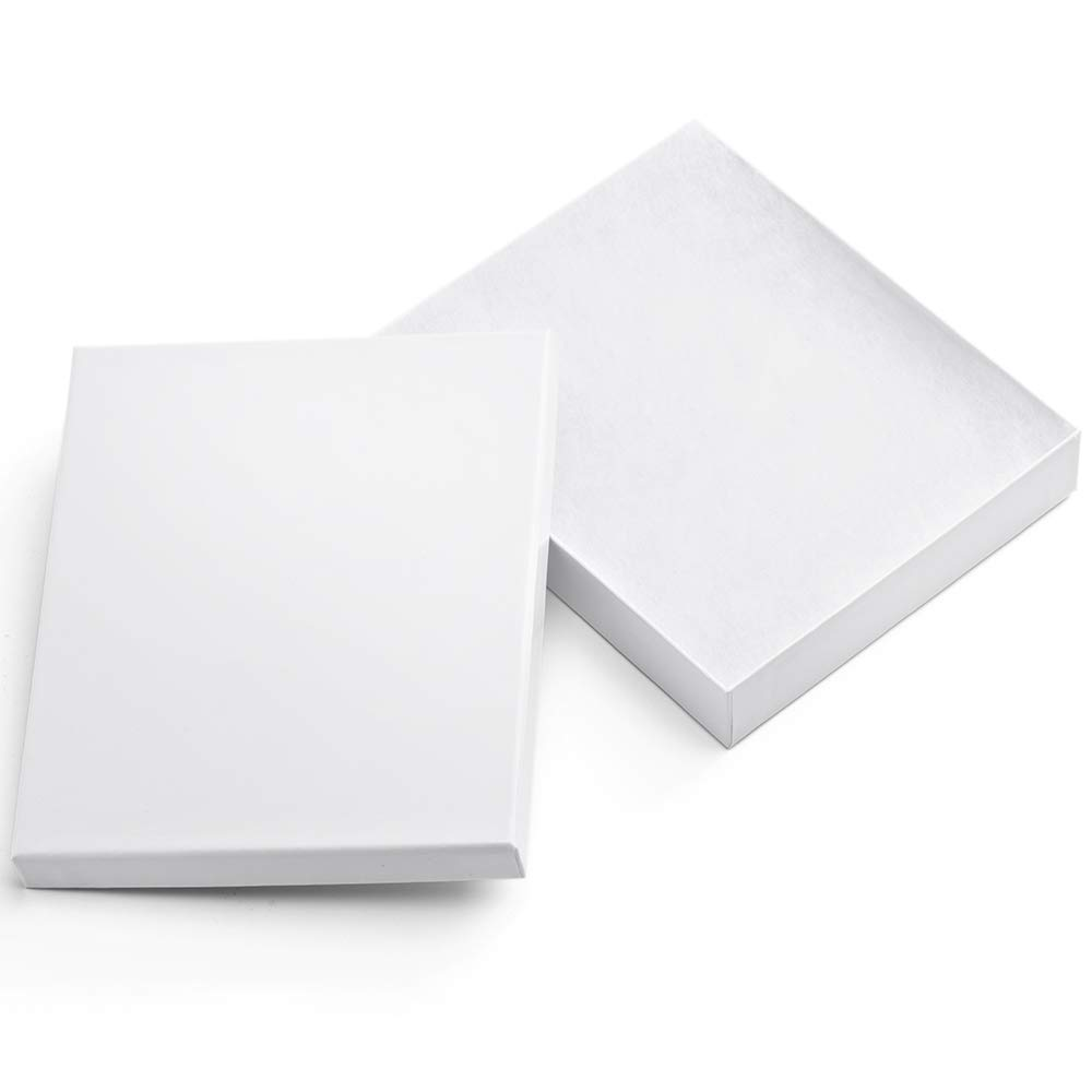 MESHA Cardboard Paper Box for Jewelry and Gift 8x5.5x1.25 Inch Thick White Paper Box With Cotton Lining (20 pcs, White)