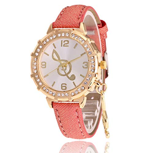 SuperLina Luxury Ladies Watch Women Diamond Music Note Pendant Quartz Wristwatch Montre Femme Clock Female Reloj Mujer(OneSize,Red)