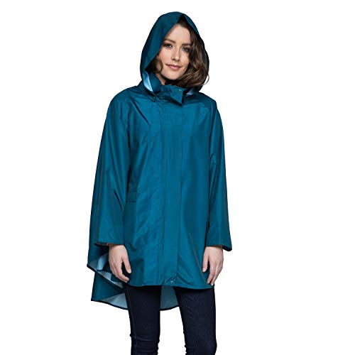 November Rain Waterproof Poncho - Rain Jacket with Hood - Blue (PNW)