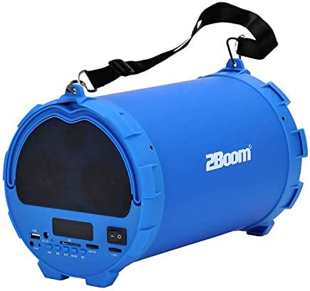 2BOOM BX390 BASS KING Wireless Bluetooth Portable Outdoor Boombox Speaker, 4 Subwoofer, FM Radio, SD Card Slot, USB Output, Aux Input, LED Display – Blue