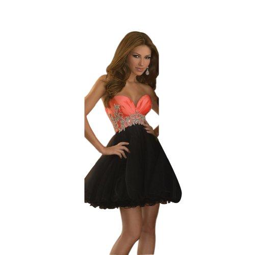 Cocktailkleid Herzfoermiger GEORGE Orange Reizvolle Homecoming BRIDE Schwarz Ausschnitt und Partykleid Kleid wIIPOq
