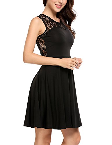 Floral Lace ANGVNS Dress Women's Line A Sleeveless Party Pleated Cocktail Black OqOtwTEp