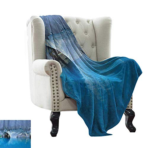 (Weighted Blanket for Kids Blue,Marble Cave General Carrera Lake in Chile Natural Wonders Rocks Azure Water,Blue Purplegrey White Reversible Soft Fabric for Couch Sofa Easy Care)