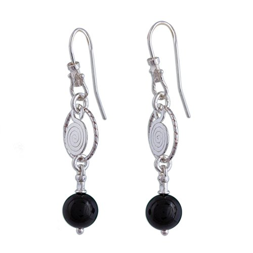 NOVICA Onyx .950 Sterling Silver Dangle Earrings, Popocateptl Rocks'