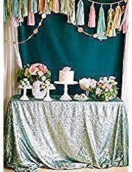 "ShinyBeauty Rectangle-Sequin-Tablecloth-60x102-Inch-Mint 5FT Table Linen Overlay (60""x102"", Mint)"