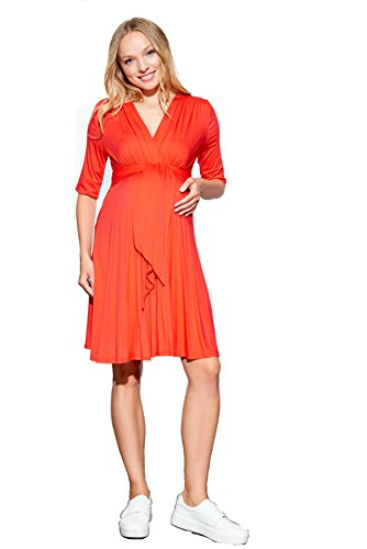 - Maternal America Women's Maternity Mini Front Tie Dress, Cherry, Small