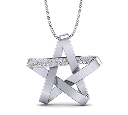 Fehu Jewel 0.11cts Natural Diamond Gold Over Sterling Silver Star Pendant for Women (White-Gold-Plated-Silver)