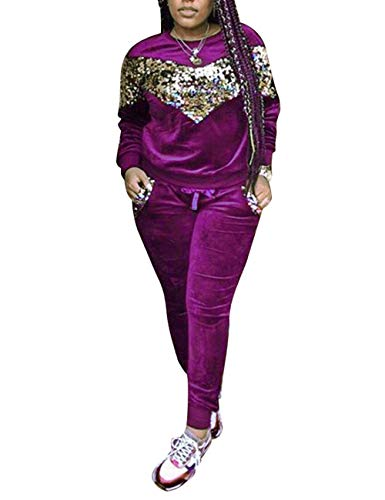 Augsuttc Women Sequin Patchwork Velvet 2 Piece Outfit Long Sleeve Sweatshirt + Bodycon Pants Set