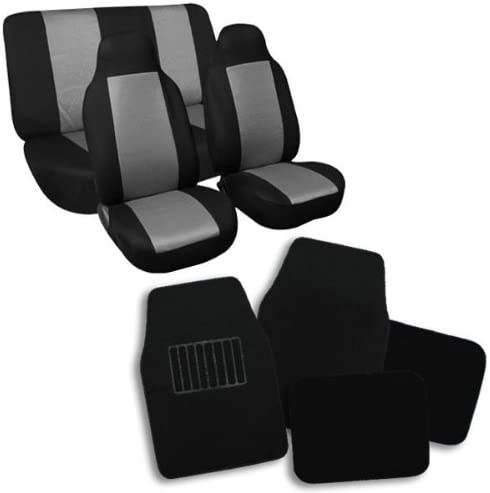 FH Group FB102112 + F14403 Classic Cloth Seat Covers (Gray) Full Set – Universal Fit for Cars Trucks & SUVs