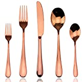 AOOSY 5 Piece Rose Gold Stainless Steel Flatware Set for 1 Person (Small Image)