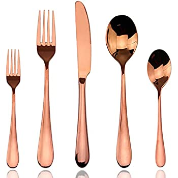 flatware sets rose gold aoosy luxury 20 pieces rose gold plated copper color 18 10. Black Bedroom Furniture Sets. Home Design Ideas