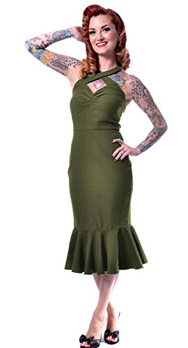 Rock Steady Cherry Dollface Dress in Olive 1X