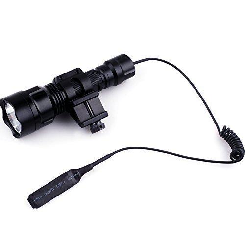 bestsun C8 táctica caza linterna brillante XM-L T6 LED 1600 lúmenes 5 modos de alta potencia lámpara linterna con interruptor de presión, 45 Grado Offset Picatinny lateral para anillo (batería no incluida)