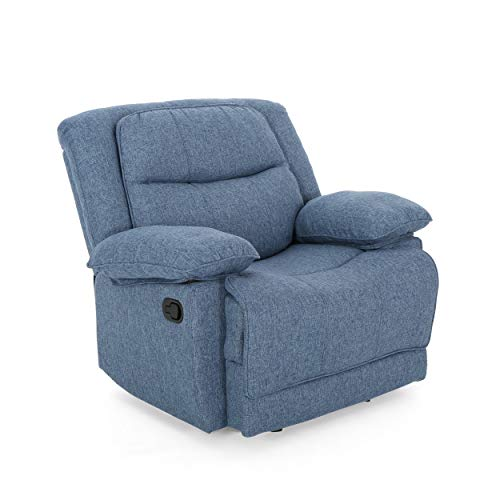 Christopher Knight Home 307784 Glider Recliner, Navy Blue Tweed, Black