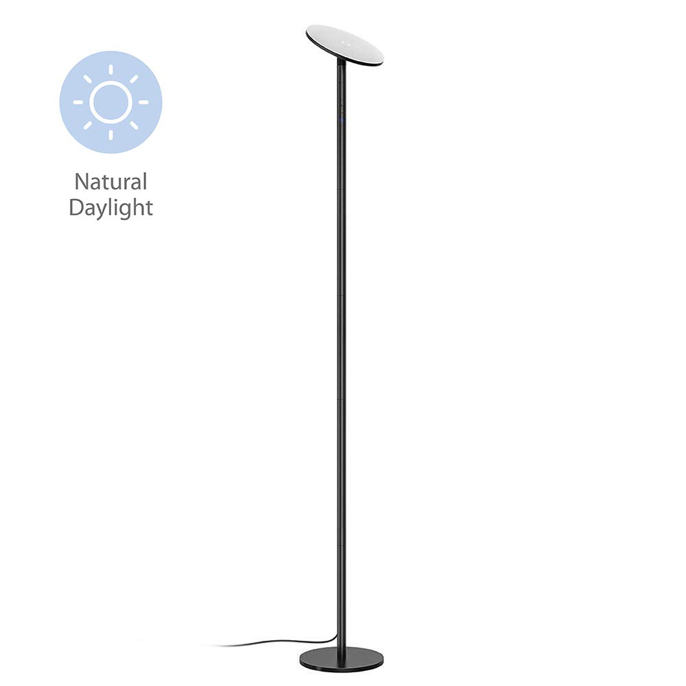 TROND Halo X LED Torchiere Floor Lamp Dimmable 30W, 5500K Natural Daylight (Not Warm Yellow), Max. 5000lm, 71-Inch, 30-Minute Timer (Black)