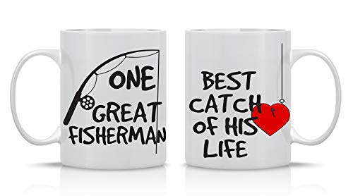 One Great Fisherman, Best Catch Of His Life Couples Mug - Funny Couple Mug - (2) 11OZ Coffee Mug - Funny Mug Gift Set - Mugs For Husband and Wife - Him And Her Gifts - By AW Fashions