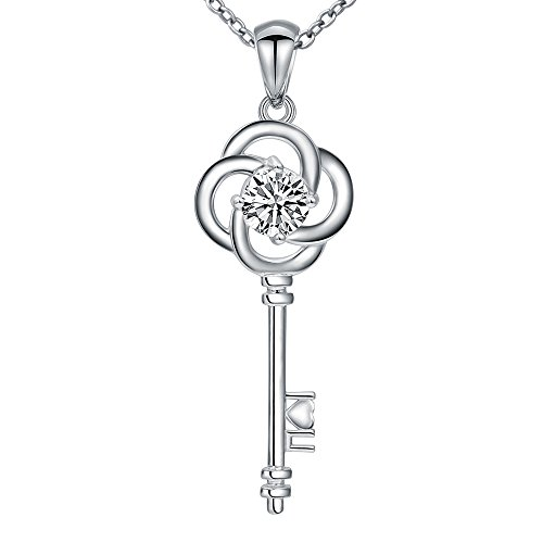 MANBU 925 Sterling Silver Twinkle 4 Leaf Clover Charm Key Pendant Necklace Jewelry for Women or Couples (Necklace White Twinkle)