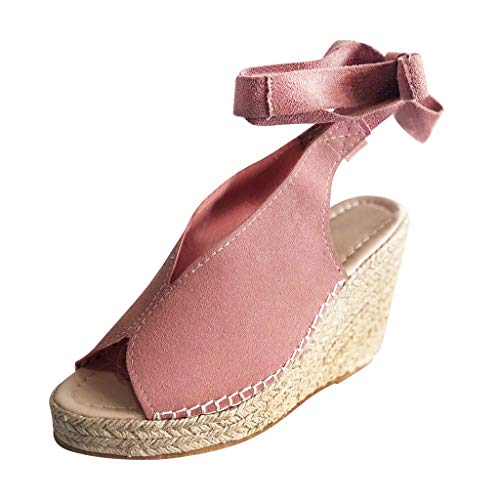 Ankles with Buckle Dew Wedge Sandals Platform Wedges Canvas Summer Shoes ()