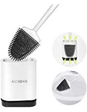 ASOBEAGE Toilet Brush with Flexible Bristles, Silicone Toilet Brush with Quick Drying Holder Set for Bathroom Toilet