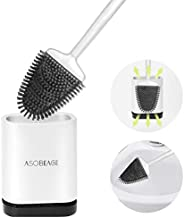ASOBEAGE Toilet Brush with Flexible Bristles, Silicone Toilet Brush with Quick Drying Holder Set for Bathroom