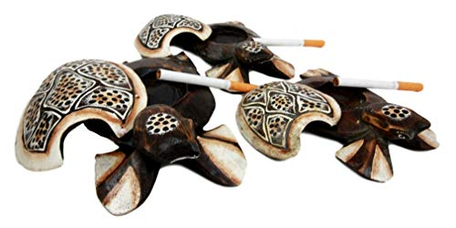 Balinese Shell - Ky & Co YK Balinese Wood Handicrafts Polkadot Shell Turtle Family Ashtray Box Figurine Set