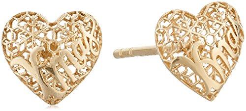 10k Yellow Gold Mesh Heart Earrings