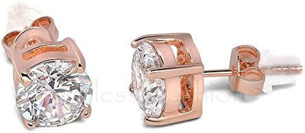 Buyless Fashion Surgical Steel Round Crystal CZ Earrings In Gift Box - 7MM Rose Gold/White Stud