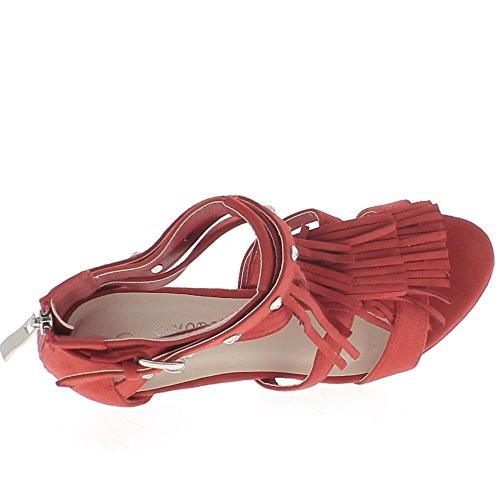 Finiscono rossi frange tacco 11cm e piattaforma sandali di camoscio aspetto