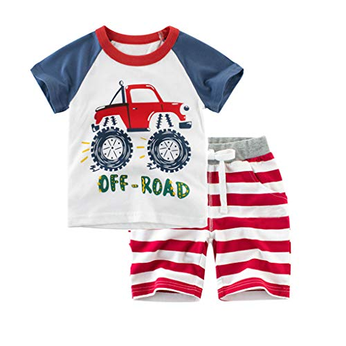 (Meeyou Little Boys' Cotton Short Sleeve T-Shirt & Plaid Shorts Set (4T, Monster Trucks-New))
