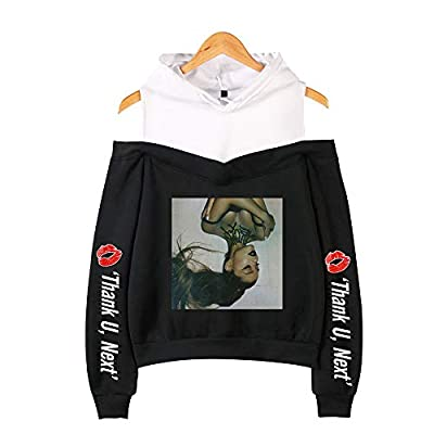 Women Girls Thank U Next Hoodie, Fashion Drawstring Hooded Sweatshirt Off-The-Shoulder Pullover Music Lyrics Lover Gift