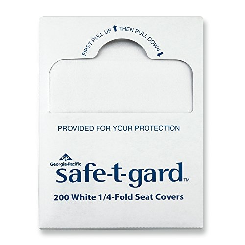 Georgia-Pacific Safe-T-Gard 47047 White 1/4-Fold Toilet Seatcovers, 14.5'' Width x 17'' Length (25 Packages of 200)