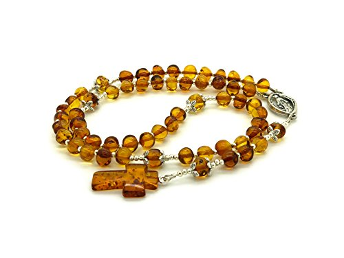 Genuine Baltic Amber Catholic Prayer Rosary with Crucifix Amber Cross