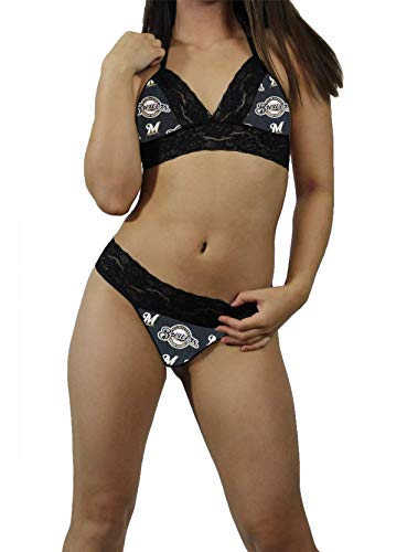 (Milwaukee Brewers Sexy Black Lace Cami Tie-Top, Matching G-String Panties Lingerie - MADE with LICENSED Fabric - Custom Sizing)