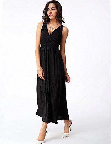 PU&PU Robe Aux femmes Gaine Sexy / Simple,Couleur Pleine Col en V Maxi Polyester / Spandex , black-xl , black-xl