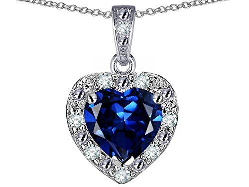- Star K 14k White Gold Heart Shape Created Sapphire Halo Pendant Necklace