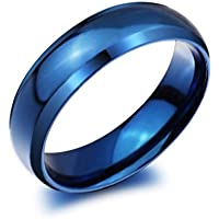 Classic Flat Polished Blue Titanium Steel Wedding Band Ring 6mm Width Size 4-14
