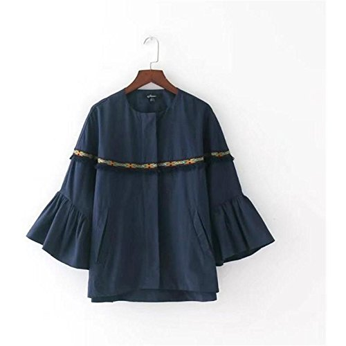 algodón mujer marino para con azul borde Shacket Large con cremallera Señoras z7xEHqSwA