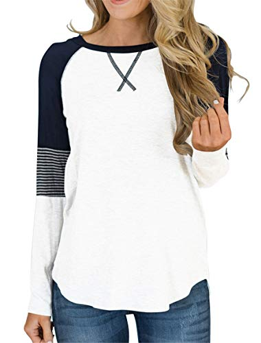Topstype Womens Long Sleeve Tunic Tops Crew Neck T Shirt Elegant Work Casual Striped Blouse (Baseball T-shirt Sweatshirt)