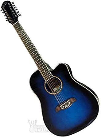 Oscar Schmidt OD312CETBL-A OD312 - Guitarra eléctrica acústica (12 cuerdas), color azul: Amazon.es: Instrumentos musicales