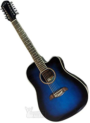 Oscar Schmidt 6 OD312 12-String Acoustic Electric Guitar. Trans Blue Sunburst, Transparent (OD312CETBL-A