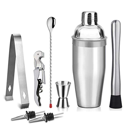 Kalovin 18oz Stainless Steel Cocktail Shaker Bar Set - 8 Piece Set with Martini Shaker, Double Jigger, Bar Spoon, Muddlers, Stainer, Ice Tongs Professional Bar Accessories ()