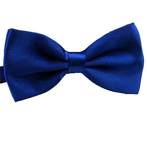 QYdress Men Bow Tie Adjustable Length Wedding Male Fashion Boys Satin Bowties one size Royal Blue-1