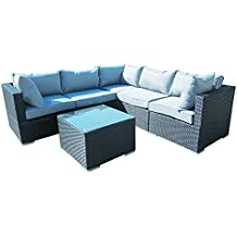 6-Piece Cushioned Outdoor Rattan Wicker 2 End Sectional Pieces, 2 Middle Sectional Pieces, 1 Corner Sectional Piece,1 Coffee Table Patio Furniture Set, Black with Grey Cushions. No Assembly Required