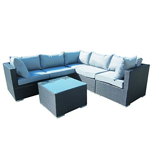 6-Piece Cushioned Outdoor Rattan Wicker 2 End Sectional Pieces, 2 Middle Sectional Pieces, 1 Corner Sectional Piece,1 Coffee Table Patio Furniture Set, Black with Grey Cushions. No Assembly Required -